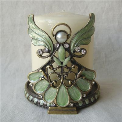 Bronze Green Jeweled Angel Candle Holder