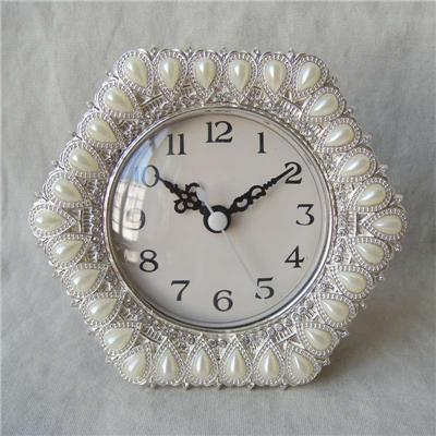 Silver Pearl Jeweled Tabletop Clock